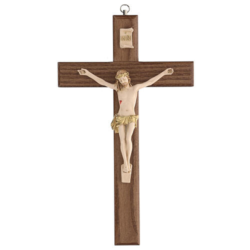 Crucifijo barnizado fresno Cristo corona dorada 27 cm 1