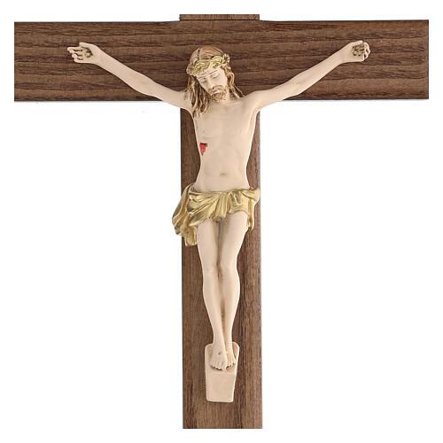 Crucifijo barnizado fresno Cristo corona dorada 27 cm 2