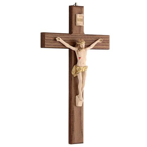 Crucifijo barnizado fresno Cristo corona dorada 27 cm 3
