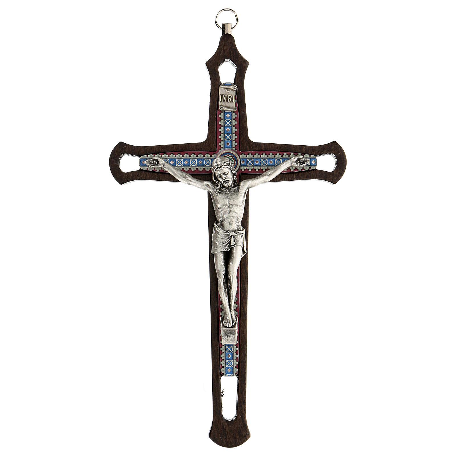 Crucifijo motivos coloreados Cristo metal madera oscuro 20 cm 4