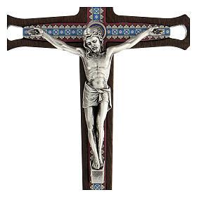 Crucifijo motivos coloreados Cristo metal madera oscuro 20 cm s2