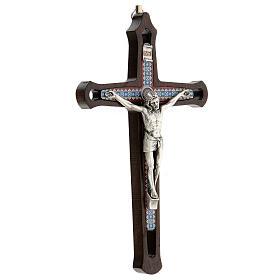 Crucifijo motivos coloreados Cristo metal madera oscuro 20 cm s3