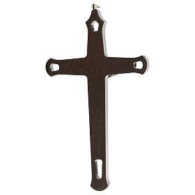 Crucifijo motivos coloreados Cristo metal madera oscuro 20 cm s4