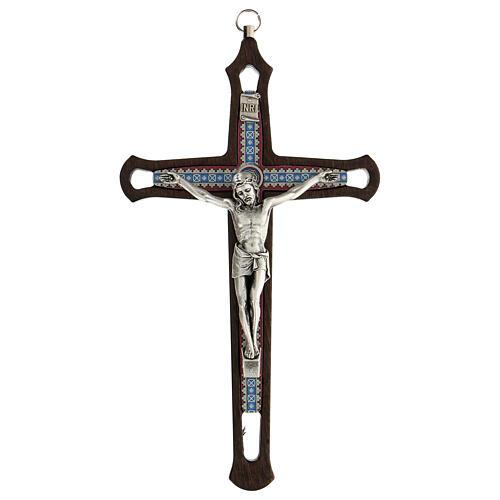 Crucifijo motivos coloreados Cristo metal madera oscuro 20 cm 1