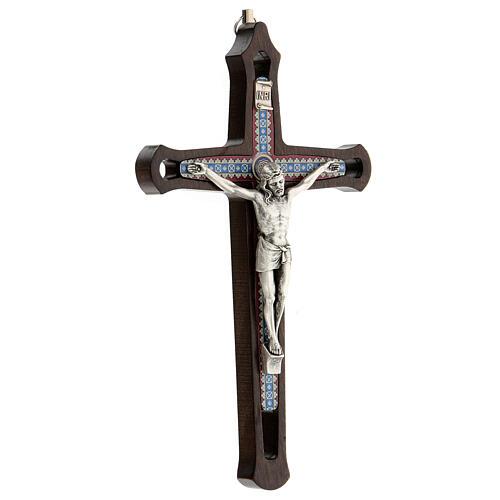 Crucifijo motivos coloreados Cristo metal madera oscuro 20 cm 3