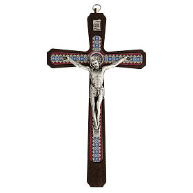 Crucifijo motivos madera oscuro colgar Cristo metal 20 cm s1