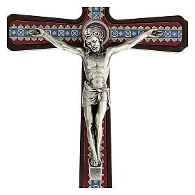 Crucifijo motivos madera oscuro colgar Cristo metal 20 cm s2
