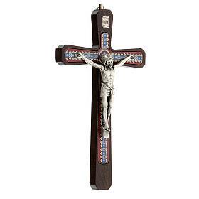 Crucifijo motivos madera oscuro colgar Cristo metal 20 cm s3