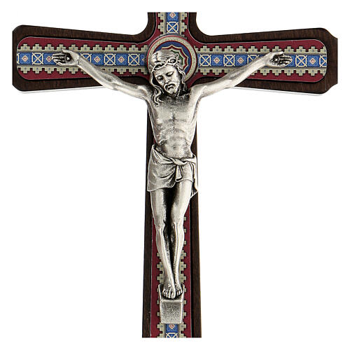 Crucifijo motivos madera oscuro colgar Cristo metal 20 cm 2