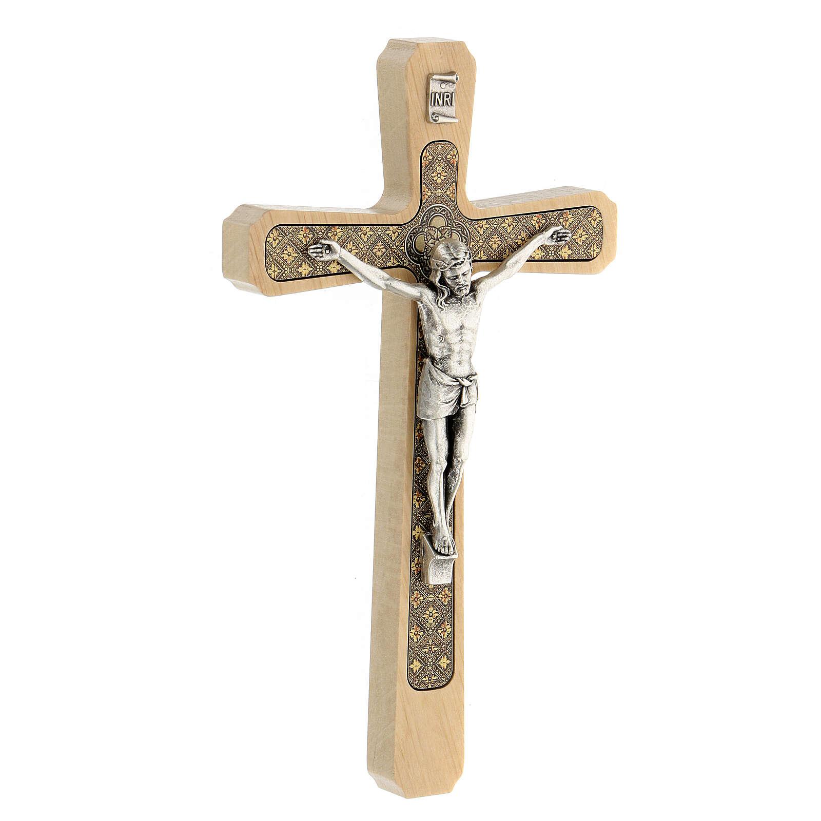 Crucifijo madera clara colgar motivo floral 20 cm 4