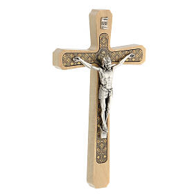 Crucifijo madera clara colgar motivo floral 20 cm s3