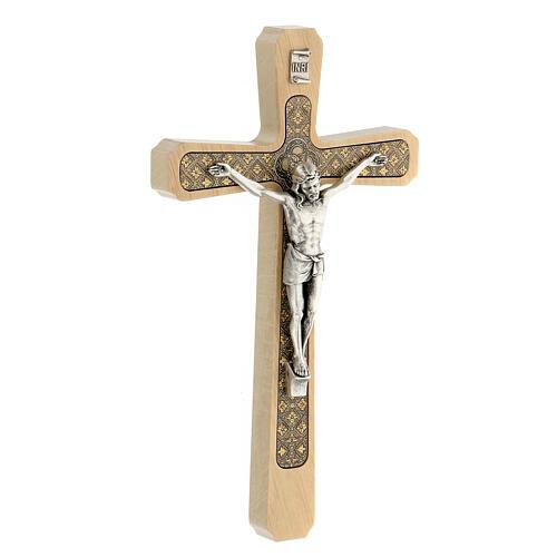 Crucifijo madera clara colgar motivo floral 20 cm 3