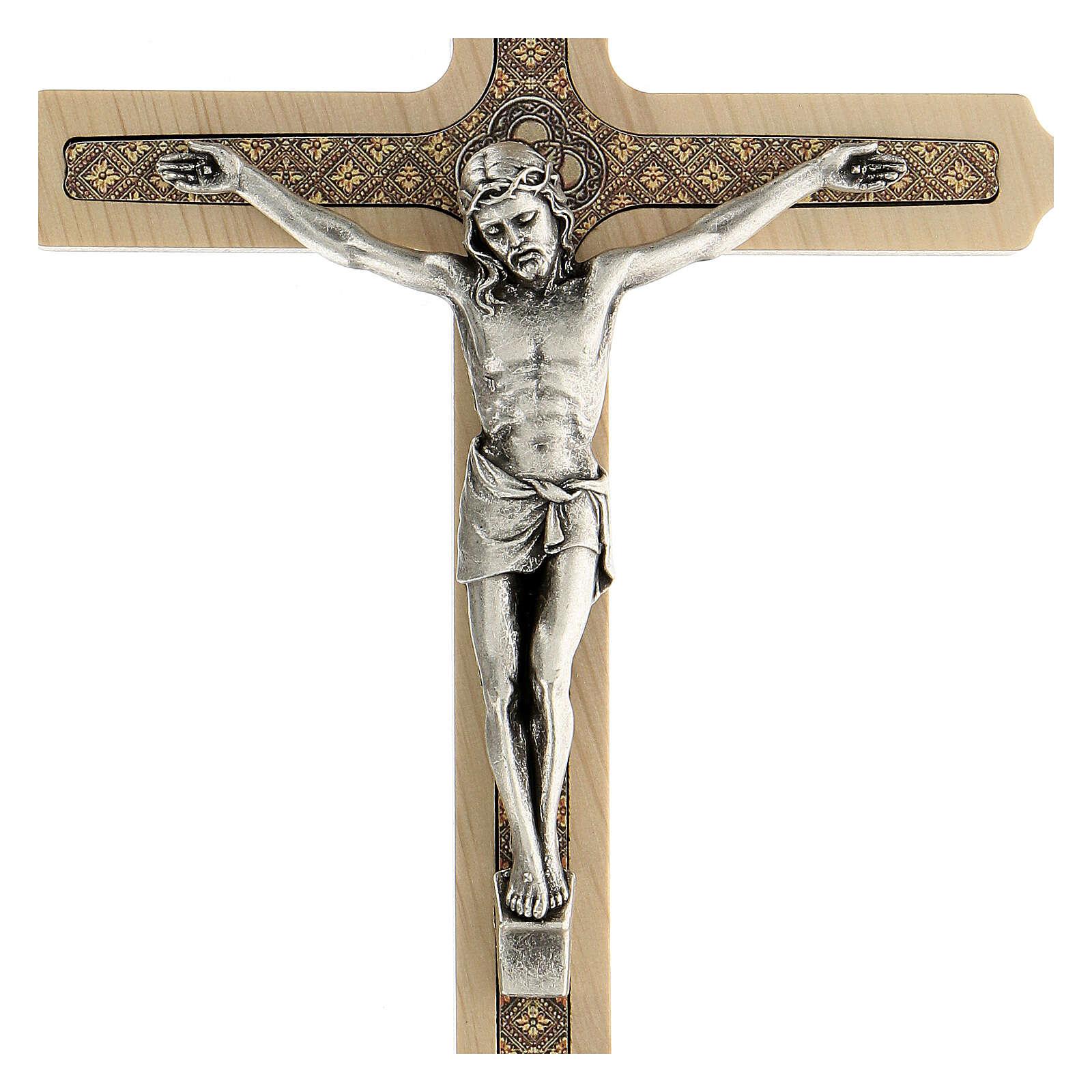 Crucifijo motivo floral madera clara Cristo 20 cm 4