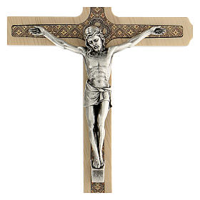Crucifijo motivo floral madera clara Cristo 20 cm s2