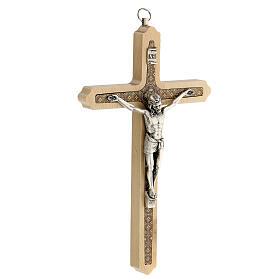 Crucifijo motivo floral madera clara Cristo 20 cm s3