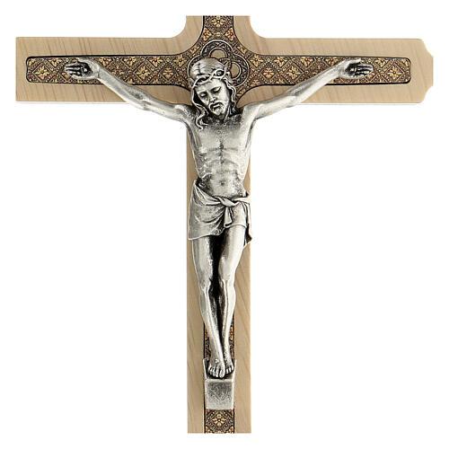 Crucifijo motivo floral madera clara Cristo 20 cm 2