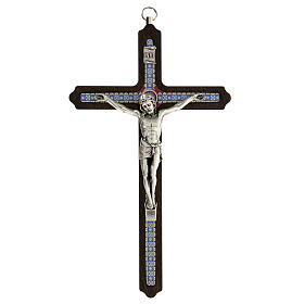 Crucifijo motivo madera oscura anillo colgar 20 cm s1