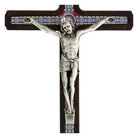 Crucifijo motivo madera oscura anillo colgar 20 cm s2