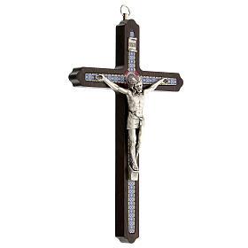 Crucifijo motivo madera oscura anillo colgar 20 cm s3