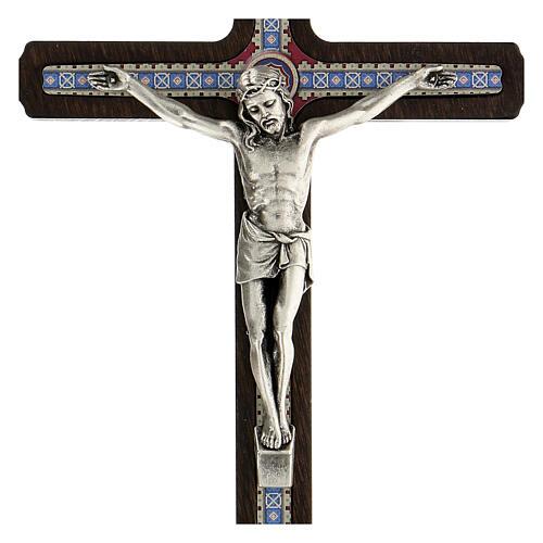 Crucifijo motivo madera oscura anillo colgar 20 cm 2
