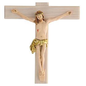 Crucifijo blanco pintado mano madera fresno y resina 30 cm s2