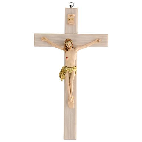 Crucifijo blanco pintado mano madera fresno y resina 30 cm 1