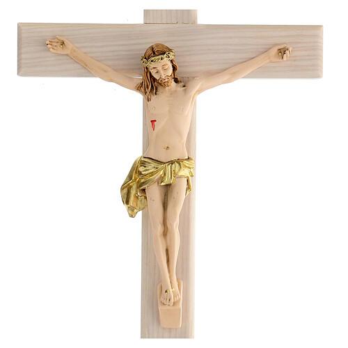 Crucifijo blanco pintado mano madera fresno y resina 30 cm 2