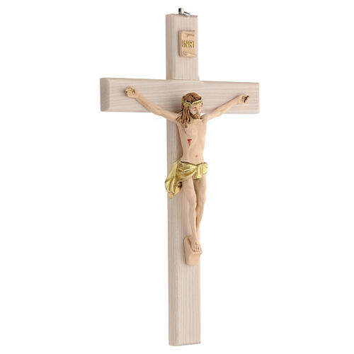 Crucifijo blanco pintado mano madera fresno y resina 30 cm 3