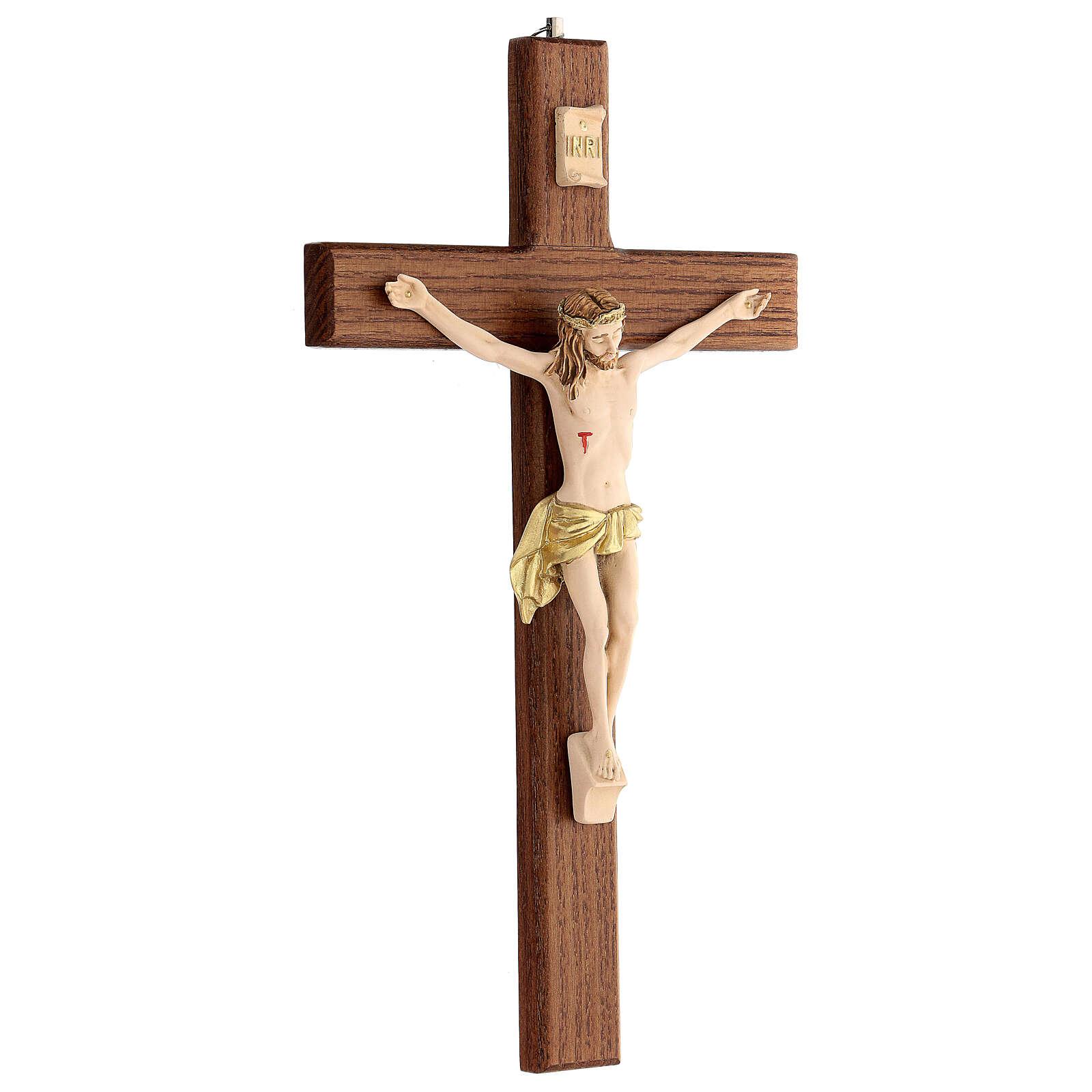 Crucifijo fresno Jesús resina madera fresno barnizado 30 cm 4