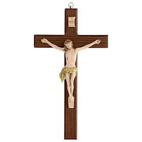 Crucifijo fresno Jesús resina madera fresno barnizado 30 cm s1