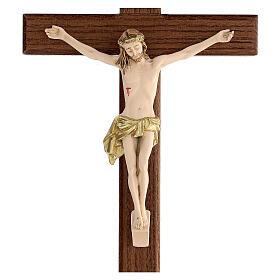 Crucifijo fresno Jesús resina madera fresno barnizado 30 cm s2