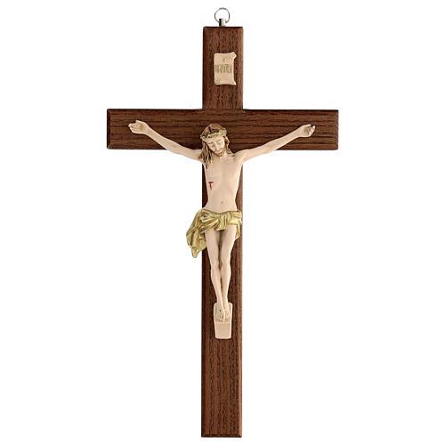 Crucifijo fresno Jesús resina madera fresno barnizado 30 cm 1