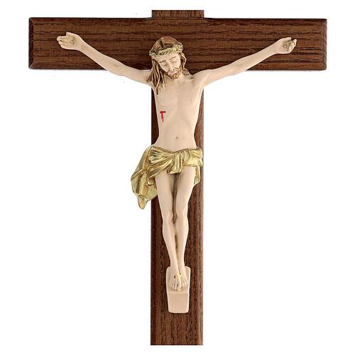 Crucifijo fresno Jesús resina madera fresno barnizado 30 cm 2