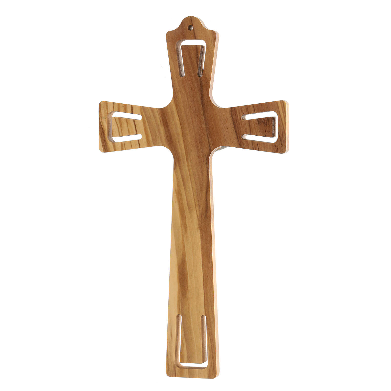 Crucifijo madera perforado Jesús plateado 26 cm 4