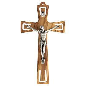 Crucifijo madera perforado Jesús plateado 26 cm s1