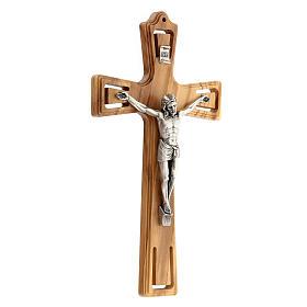 Crucifijo madera perforado Jesús plateado 26 cm s3