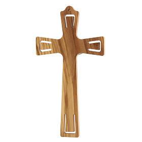 Crucifijo madera perforado Jesús plateado 26 cm s4