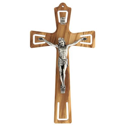 Crucifijo madera perforado Jesús plateado 26 cm 1