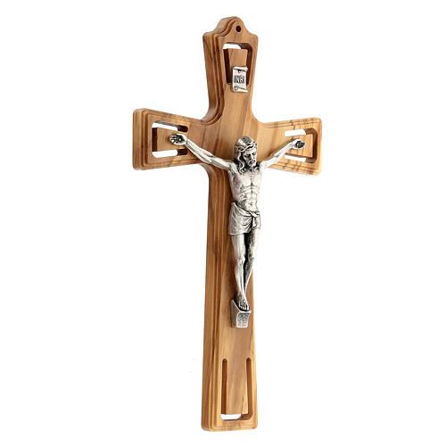 Crucifijo madera perforado Jesús plateado 26 cm 3