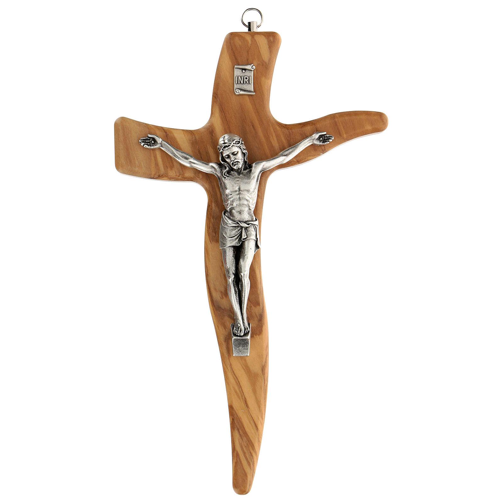 Crucifijo moldeado grande madera olivo 25 cm 4