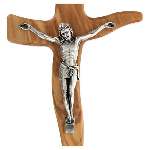 Crucifijo moldeado grande madera olivo 25 cm 2