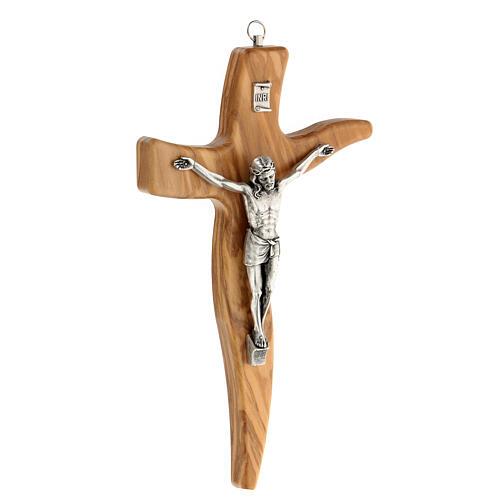 Crucifijo moldeado grande madera olivo 25 cm 3