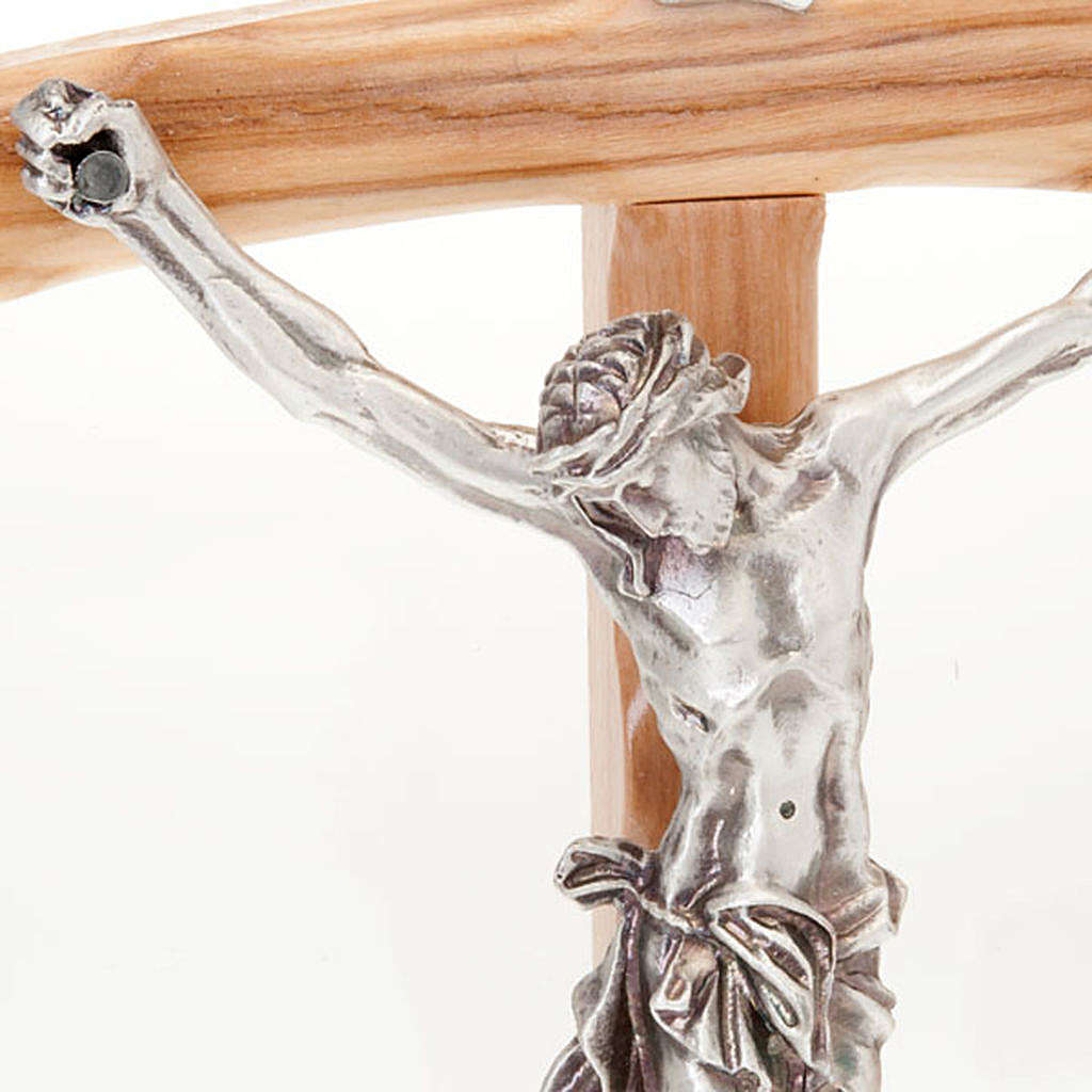 Olive wood crucifix with curved cross 4