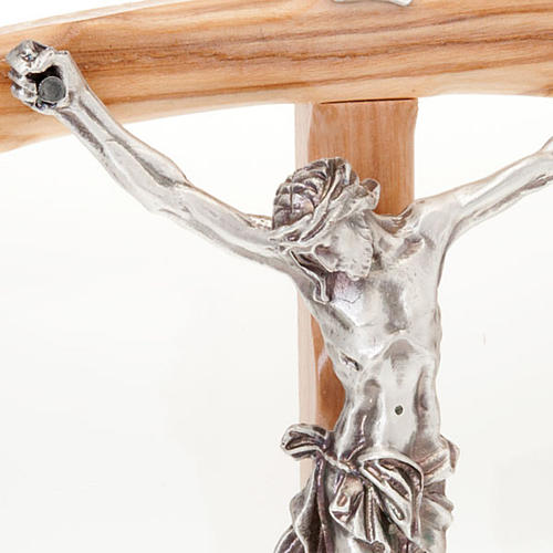 Olive wood crucifix with curved cross 2