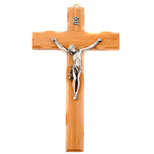 Olive wood crucifix with straight cross 1