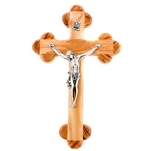 Crucifix en bois d'olivier, croix fleur 1