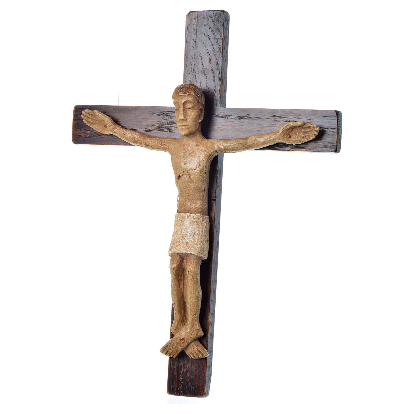 Crucifix in stone on wood H34cm Bethléem 4
