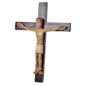 Crocifisso in pietra su legno h 34 cm Bethléem s3