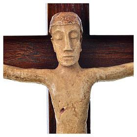Crocifisso in pietra su legno h 34 cm Bethléem s5