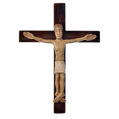 Crocifisso in pietra su legno h 34 cm Bethléem 1